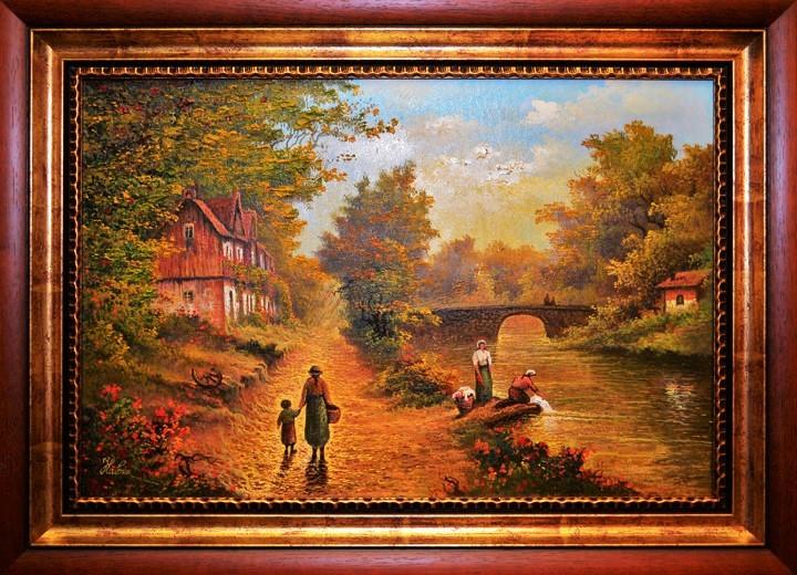 Peisaj cu fete la râu