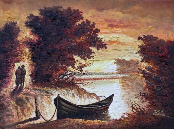 Râu la apus